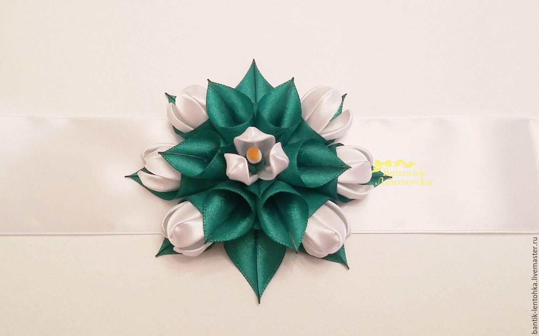 Belts handmade. Livemaster - handmade. Buy Satin sash 'Snowdrops'.Kanzashi, fabric flowers, gift for birthday, prom dress