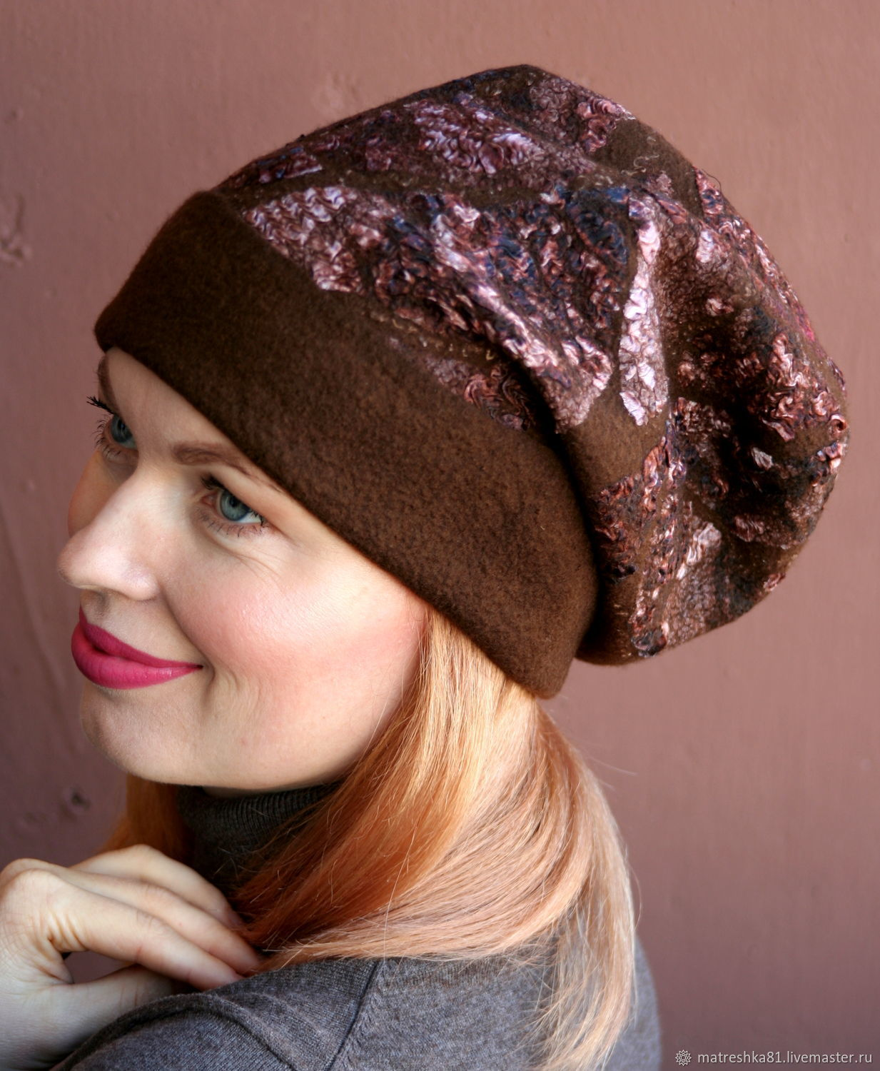 Felted hat womens brown, Caps, Khabarovsk,  Фото №1