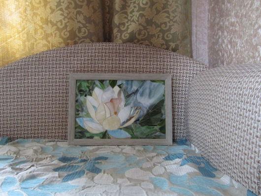 Картины цветов ручной работы. Ярмарка Мастеров - ручная работа. Купить Мозаика стеклянная лилии. Handmade. Белый, подарок воспитателю