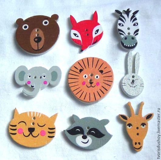 """Куклы и игрушки ручной работы. Ярмарка Мастеров - ручная работа. Купить Пуговицы деревянные """"Животные"""""""". Handmade. Разноцветный, звери"""