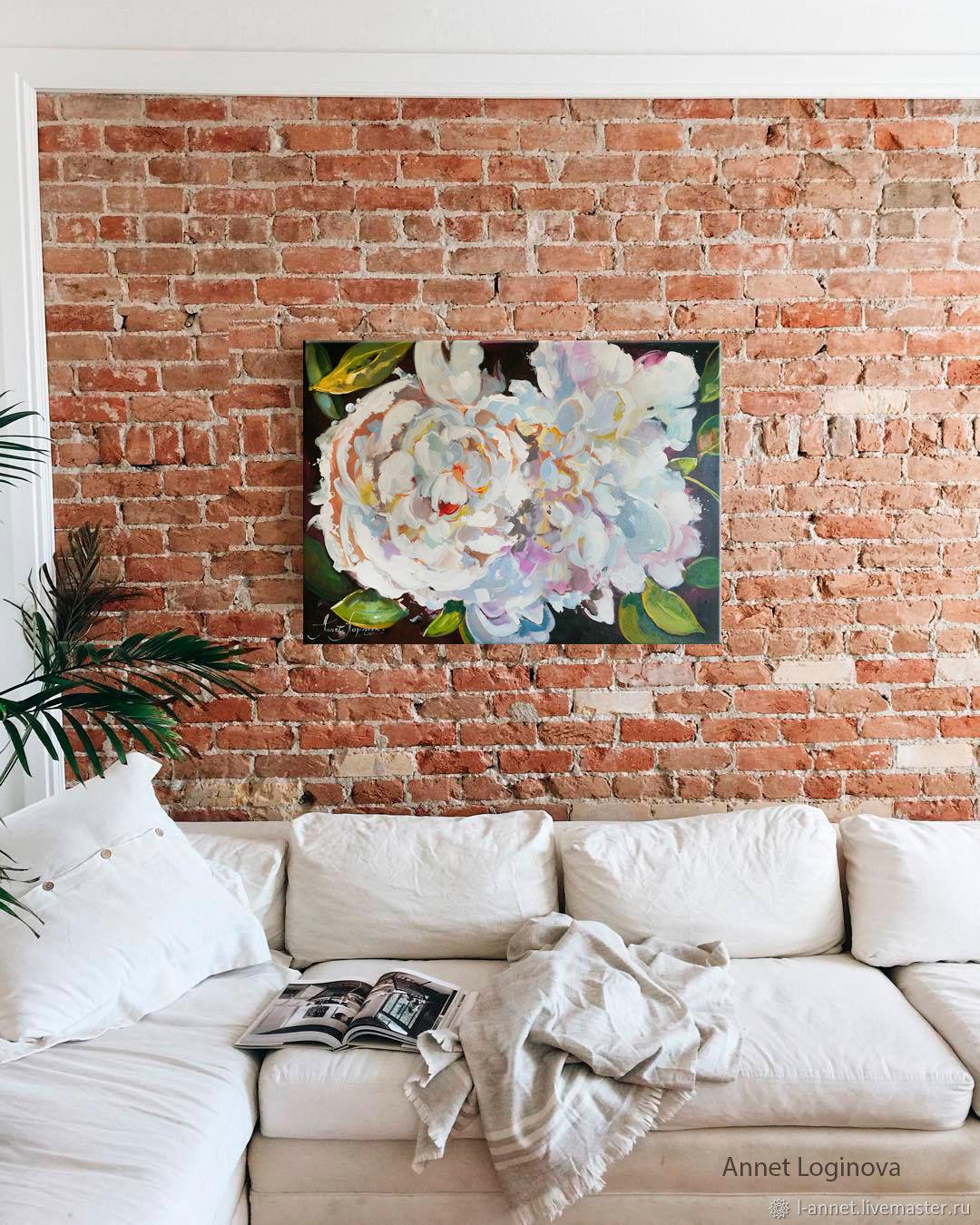 Flower Paintings handmade. Livemaster - handmade. Buy Perl flowers.Orange, cream, peonies, painting on canvas, delicate flowers