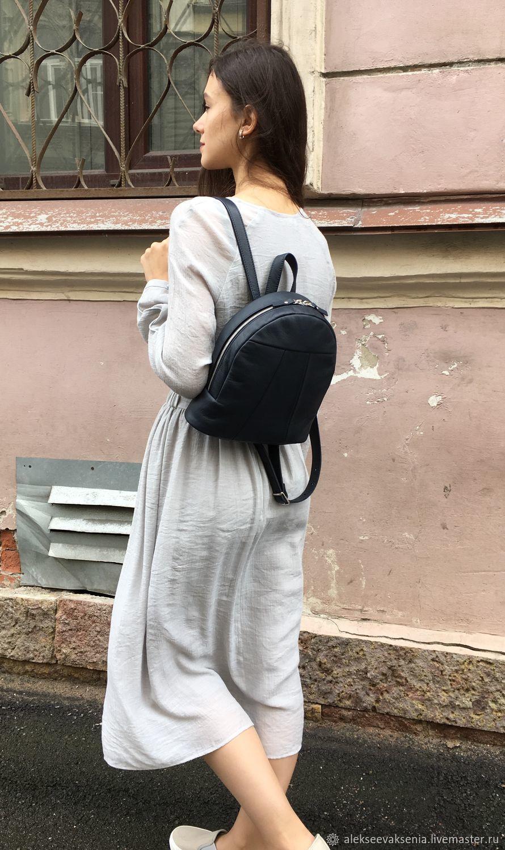 Рюкзак малый темно-синий из натуральной кожи, Рюкзаки, Санкт-Петербург, Фото №1