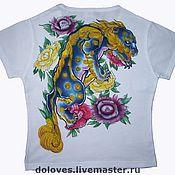 """Одежда ручной работы. Ярмарка Мастеров - ручная работа футболка """"Голубой тигр"""" аэрография. Handmade."""