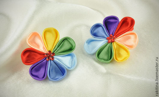 Комплекты украшений ручной работы. Ярмарка Мастеров - ручная работа. Купить Цветик семицветик. Handmade. Резинка для волос, канзаши, разноцветный