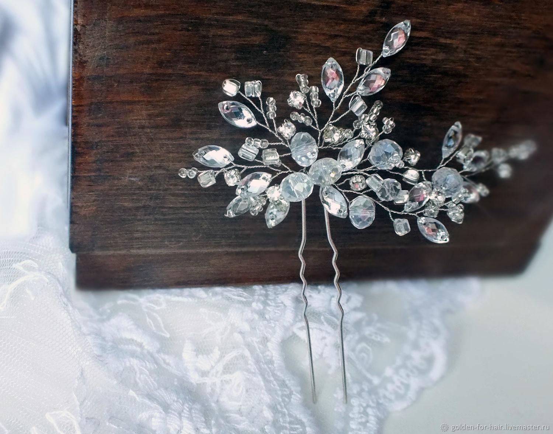 Свадебные украшения ручной работы. Ярмарка Мастеров - ручная работа. Купить  Хрустальная шпилька для свадебной ... adc58a2e848