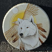 Музыкальные инструменты handmade. Livemaster - original item White wolf and the eagle. Drum leather.. Handmade.