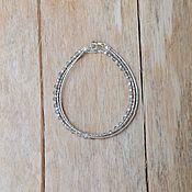 Браслет из бусин ручной работы. Ярмарка Мастеров - ручная работа Тонкий браслет из серебра ручной работы и лабрадора. Handmade.