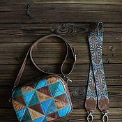 Сумки и аксессуары handmade. Livemaster - original item Bag made of genuine leather in a patchwork technique turquoise. Handmade.