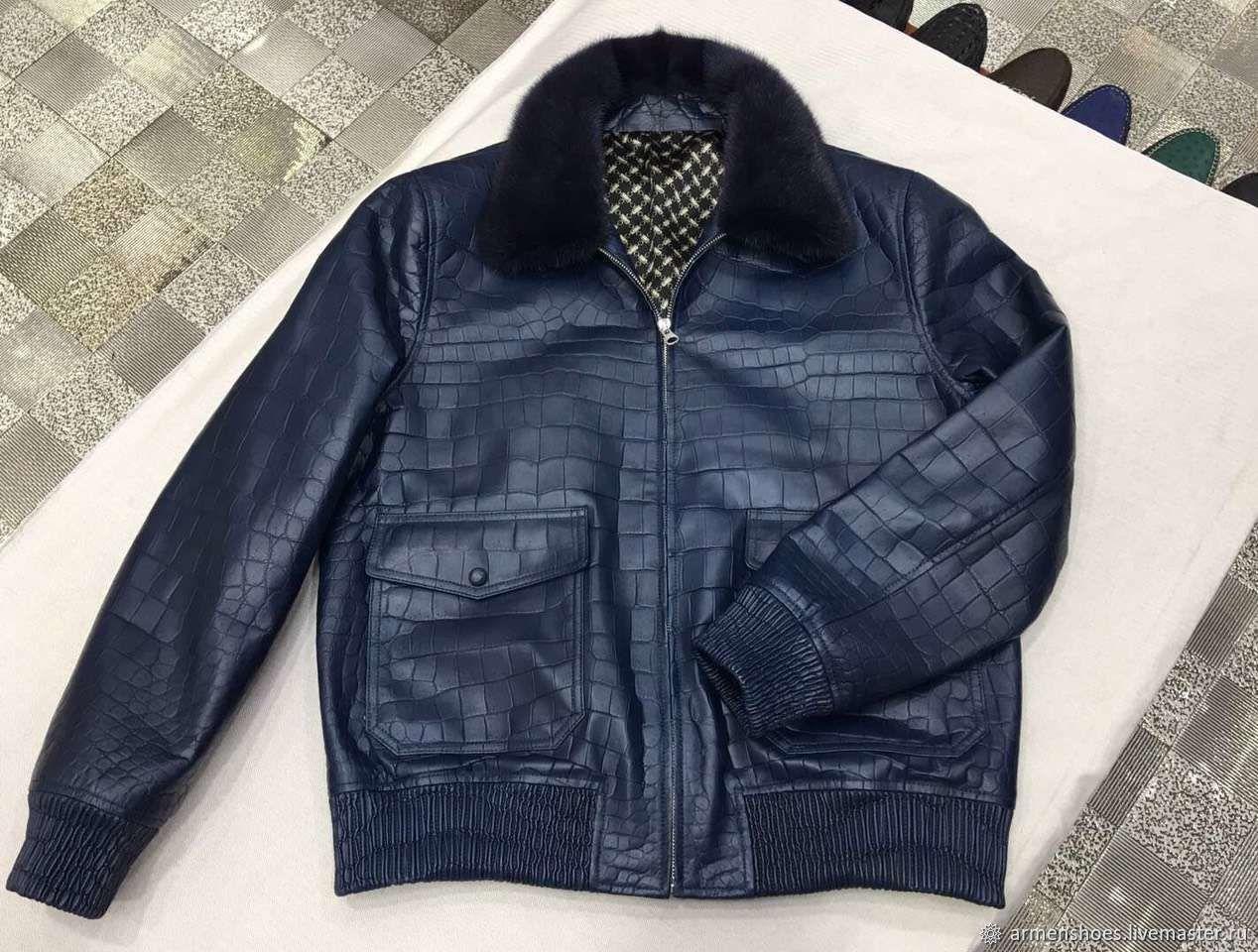 Men's crocodile leather jacket, dark blue color, LUX class, Mens outerwear, Tosno,  Фото №1