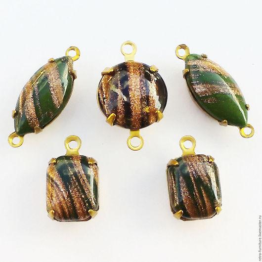 """Для украшений ручной работы. Ярмарка Мастеров - ручная работа. Купить Винтажный набор:стразы, кристаллы, подвески """"Green+Bronze"""". Handmade."""