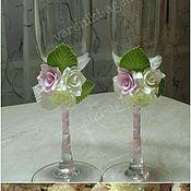 Свадебный салон ручной работы. Ярмарка Мастеров - ручная работа Свадебные бокалы «Нежно-розовые». Handmade.