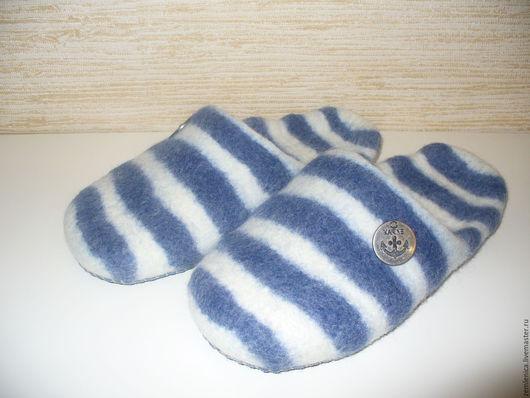 """Обувь ручной работы. Ярмарка Мастеров - ручная работа. Купить Войлочные тапочки """"Тельняшка"""". Handmade. Тёмно-синий, тельняшка"""