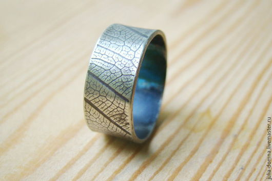 Украшения для мужчин, ручной работы. Ярмарка Мастеров - ручная работа. Купить Мужское Кольцо - перстень c отпечатком листа серебряное. Handmade.