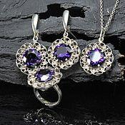 Украшения handmade. Livemaster - original item Ameti jewelry set with silver amethysts SP0104. Handmade.