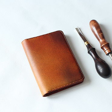 Stationery handmade. Livemaster - original item Cover for avtodokumentov leather. Handmade.