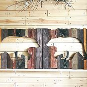 Картины и панно manualidades. Livemaster - hecho a mano Pair of bears wood painting mural. Handmade.