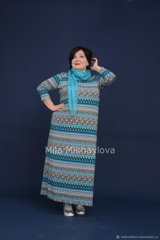 Dress viscose zigzag turquoise. Art. 3421, Dresses, Kirov,  Фото №1