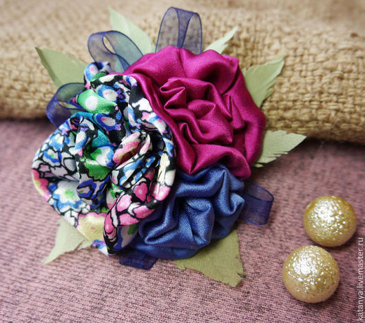 Броши ручной работы. Ярмарка Мастеров - ручная работа. Купить Текстильная брошь - цветок. Handmade. Брошь, брошь цветок