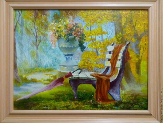 """Пейзаж ручной работы. Ярмарка Мастеров - ручная работа. Купить """"Романтическая осень"""". Handmade. Комбинированный, осень, зонтик, пейзаж"""