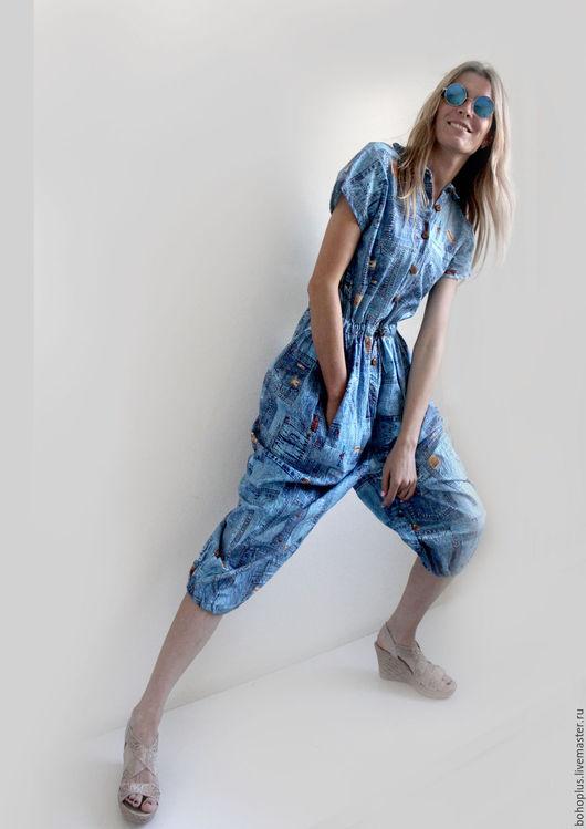 """Комбинезоны ручной работы. Ярмарка Мастеров - ручная работа. Купить Комбинезон из хлопка """"Отдых"""". Handmade. Голубой, одежда для женщин, хлопок"""