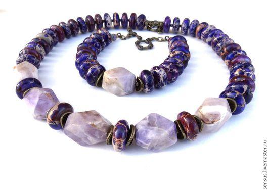 Комплект украшений `Лиловый закат`, браслет, ожерелье, колье, украшение из камней, фиолетовый, сиреневый, аметист