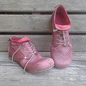 Обувь ручной работы. Ярмарка Мастеров - ручная работа Кожаные ботинки БРОГИ бордовые. Handmade.