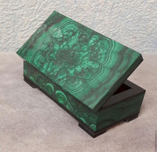 Шкатулки ручной работы. Ярмарка Мастеров - ручная работа. Купить Шкатулка малахитовая малая 1. Handmade. Тёмно-зелёный