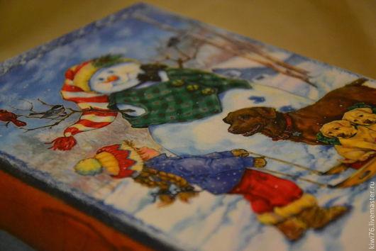 """Корзины, коробы ручной работы. Ярмарка Мастеров - ручная работа. Купить Короб """"Новогодняя встреча"""". Handmade. Синий, коробочка для подарка"""