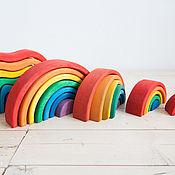 Вальдорфские игры, наборы ручной работы. Ярмарка Мастеров - ручная работа Пирамидка радуга. Handmade.