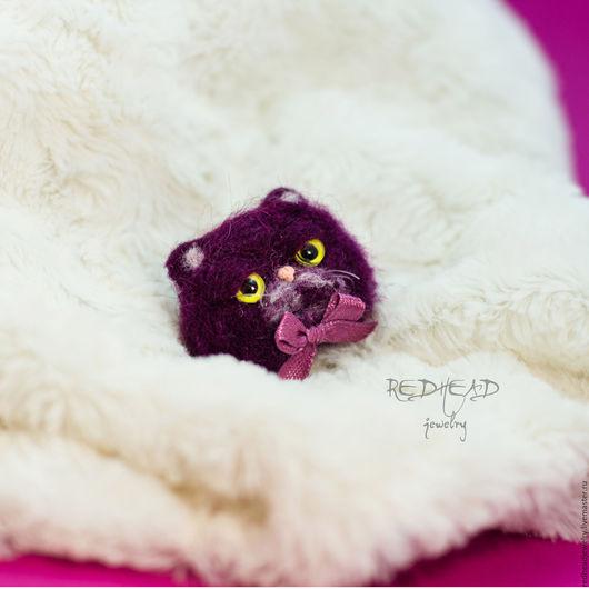 Броши ручной работы. Ярмарка Мастеров - ручная работа. Купить Брошка-кошка экзот фиолет. Handmade. Экзот, сваляно с любовью