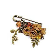 Украшения handmade. Livemaster - original item September. Brooch pin with pendants. Brooch decorative pin. Handmade.