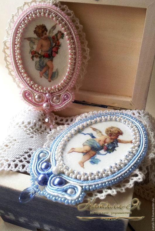 """Броши ручной работы. Ярмарка Мастеров - ручная работа. Купить Броши """"Ангелочки"""" (розовая и голубая). Handmade. Голубой, брошь с ангелом"""