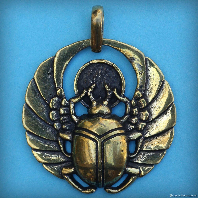 Скарабей бронзовый кулон Жук Египетский символ Солярный амулет Солнца, Подвеска, Симферополь,  Фото №1