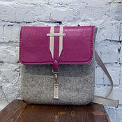 Сумки и аксессуары handmade. Livemaster - original item Felted backpack Pink quartz with leather. Handmade.