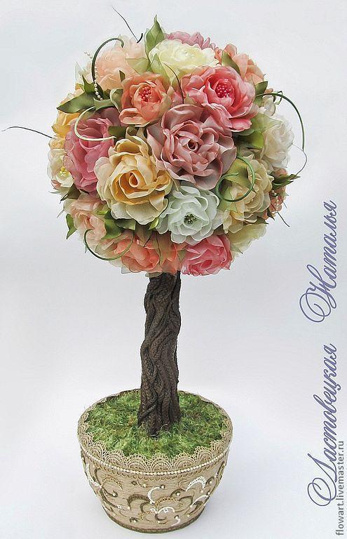 Топиарии ручной работы. Ярмарка Мастеров - ручная работа. Купить Дерево из роз. Handmade. Дерево, цветы, цветы из ткани