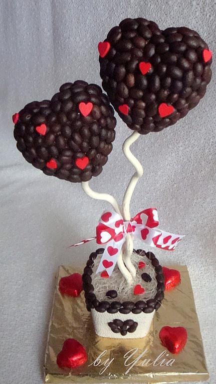 """Топиарии ручной работы. Ярмарка Мастеров - ручная работа. Купить Кофейный топиарий """"Влюбленные сердца"""". Handmade. Оригинальный подарок, сердце"""