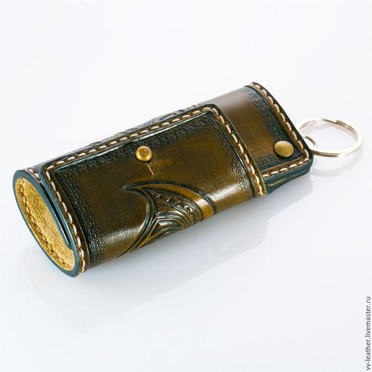 Кошельки и визитницы ручной работы. Ярмарка Мастеров - ручная работа. Купить Ключница кожаная с орнаментом Maori. Handmade. Ключница