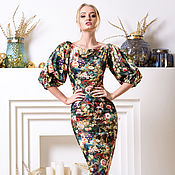 Одежда ручной работы. Ярмарка Мастеров - ручная работа Тёплое платье футляр, открытые плечики, с невероятной расцветкой). Handmade.
