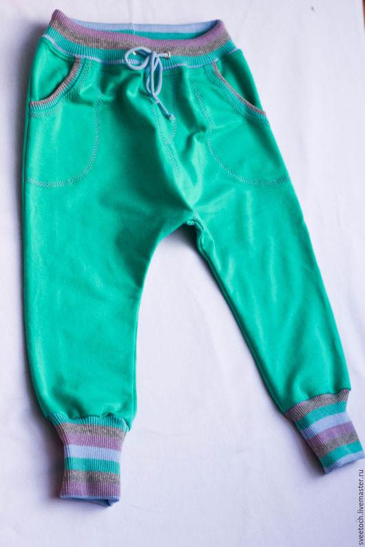 Одежда унисекс ручной работы. Ярмарка Мастеров - ручная работа. Купить Тёплые штанишки из футера. Handmade. Однотонный, штаны с мотней