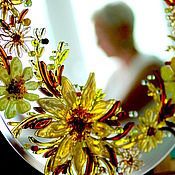 Для дома и интерьера handmade. Livemaster - original item fusing,glass, mirror Flower honey. Handmade.