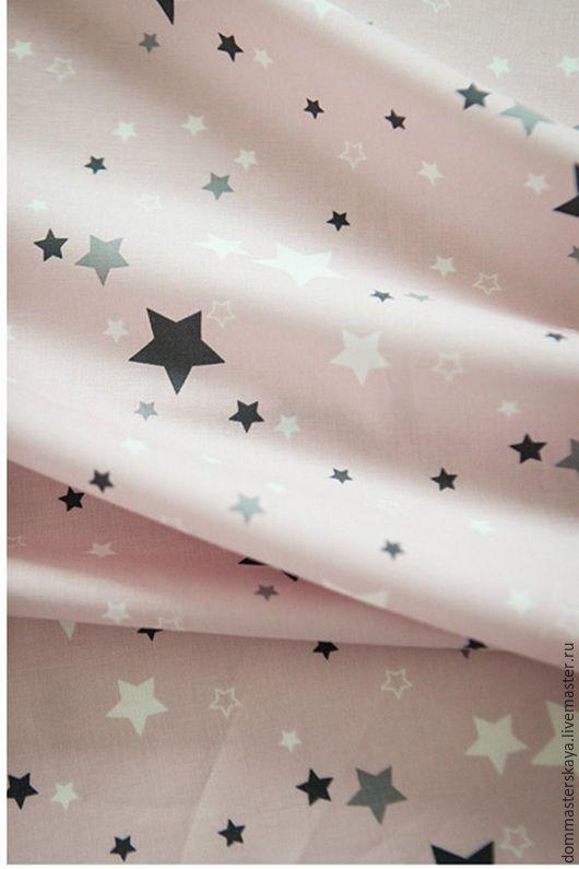 Шитье ручной работы. Ярмарка Мастеров - ручная работа. Купить 100% хлопок, Корея, звезды на нежно-розовом. Handmade.