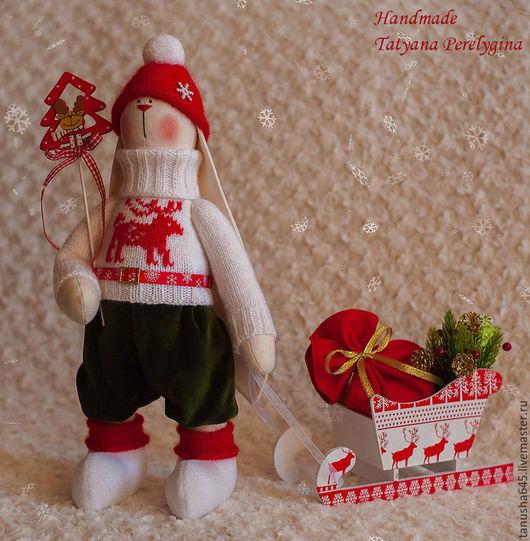 Куклы Тильды ручной работы. Ярмарка Мастеров - ручная работа. Купить Зайка Новогодний. Handmade. Зайчик, подарок женщине