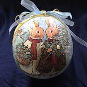 """Подарки к праздникам ручной работы. Ярмарка Мастеров - ручная работа Новогодний шар-шкатулка """"Зайки"""" продано. Handmade."""