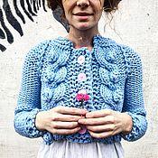 Одежда ручной работы. Ярмарка Мастеров - ручная работа Голубой вязаный жакет с косами и шишечками. Handmade.