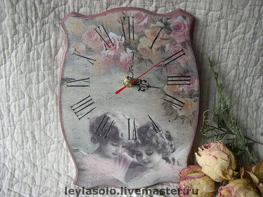 "Часы для дома ручной работы. Ярмарка Мастеров - ручная работа. Купить Часы""Милые ангелы"". Handmade. Розово-серый, часы, винтаж"