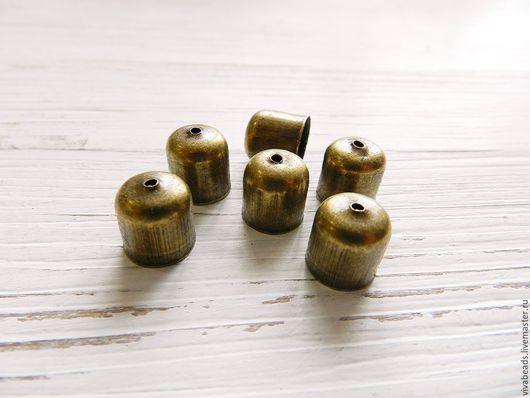 Концевик цвет бронза, размер 10*11 мм, внутренний диаметр 9,5 мм, отверстие 1 мм, материал - сплав металлов на основе железа (арт. 2306)