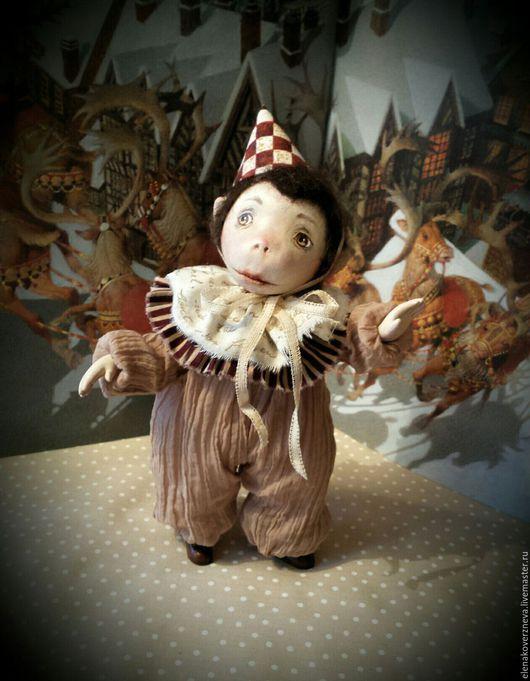 Коллекционные куклы ручной работы. Ярмарка Мастеров - ручная работа. Купить Обезьянка авторская кукла из флюмо и шерсти 21см. Handmade.