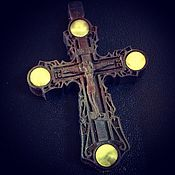 Украшения handmade. Livemaster - original item Cross with Amber. Handmade.