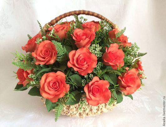 Интерьерные композиции ручной работы. Ярмарка Мастеров - ручная работа. Купить Корзина роз. Handmade. Оранжевый, розы