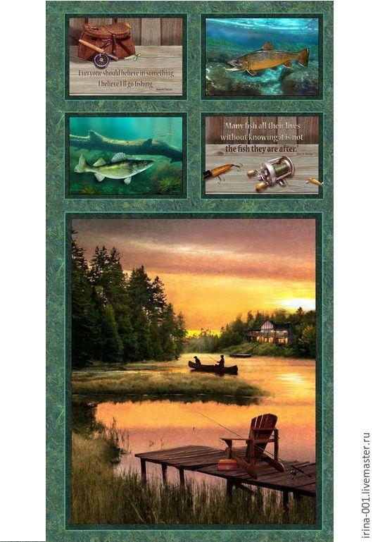 Шитье ручной работы. Ярмарка Мастеров - ручная работа. Купить Рыбалка. Купон хлопок США 60х110 см. Handmade. Комбинированный